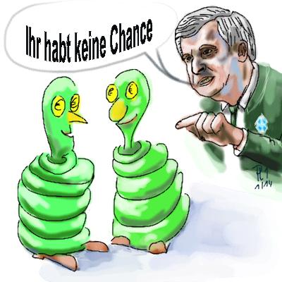 """Herr Horst Seehofer sieht das €-Zeichen in den Augen der """"Zuwanderer"""" leuchten"""