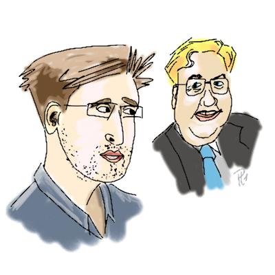 Zeichnung von Herrn Kornblum und Whistleblower Snoden