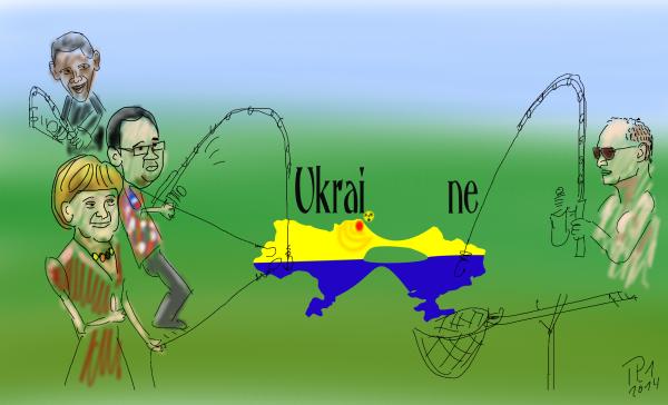 Darstellung, wie die Ukraine (als Landkarte) von verschiedenen Politikern mit Angeln herangezogen wird.
