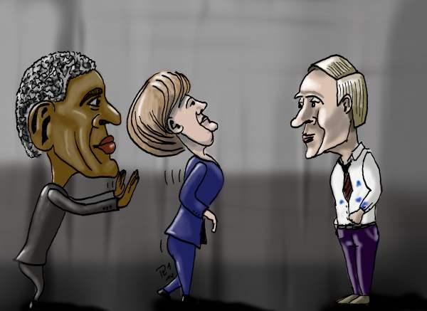 Obama schupst Frau Merkel zu Putin.