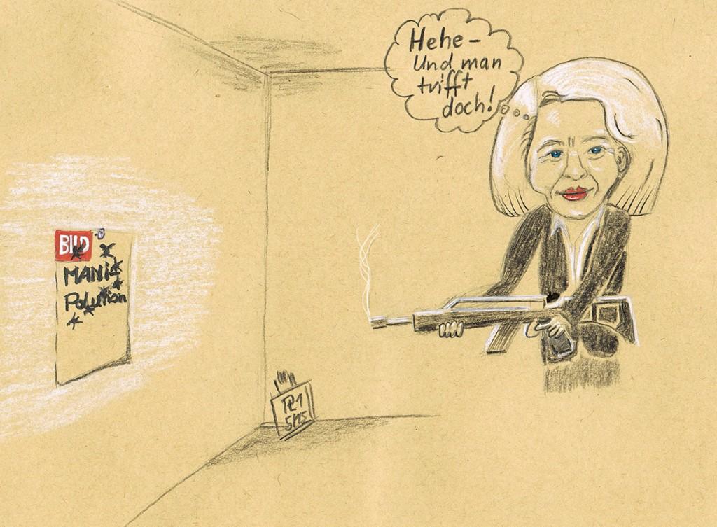 Karikatur: Darstellung Frau von der Leyen schießt mit dem G§6 auf die BILD-Zeitung an der Wand und trifft.